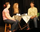Bella (Heather Prestwich), Geraldine (Amanda Chapman) and Amy (Catherine Racine) finish singing the Mountains of Pomelroy